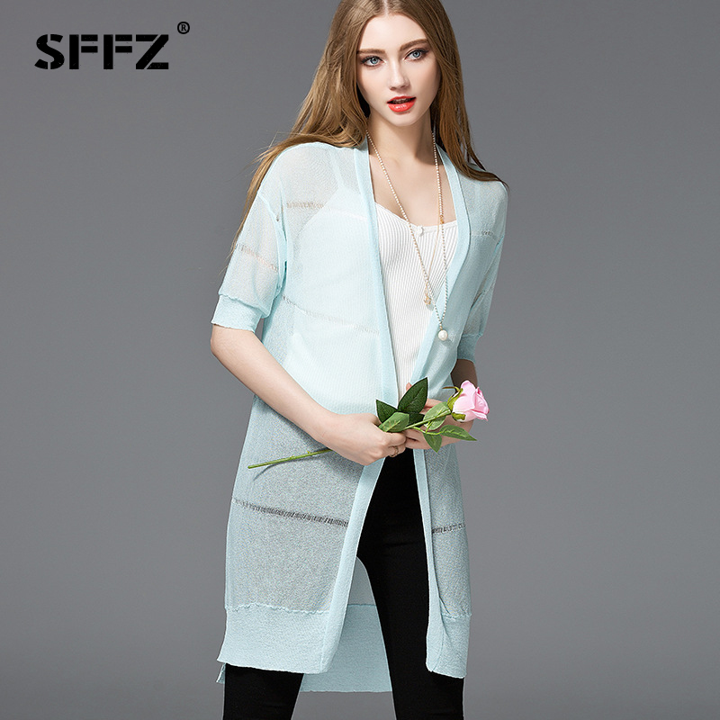SFFZ 2018 Summer New female Shirt Vest Cardigan Hollow Perspective Solid Knitting Cardigan Long Thin Sun Protection Clothing Top ...