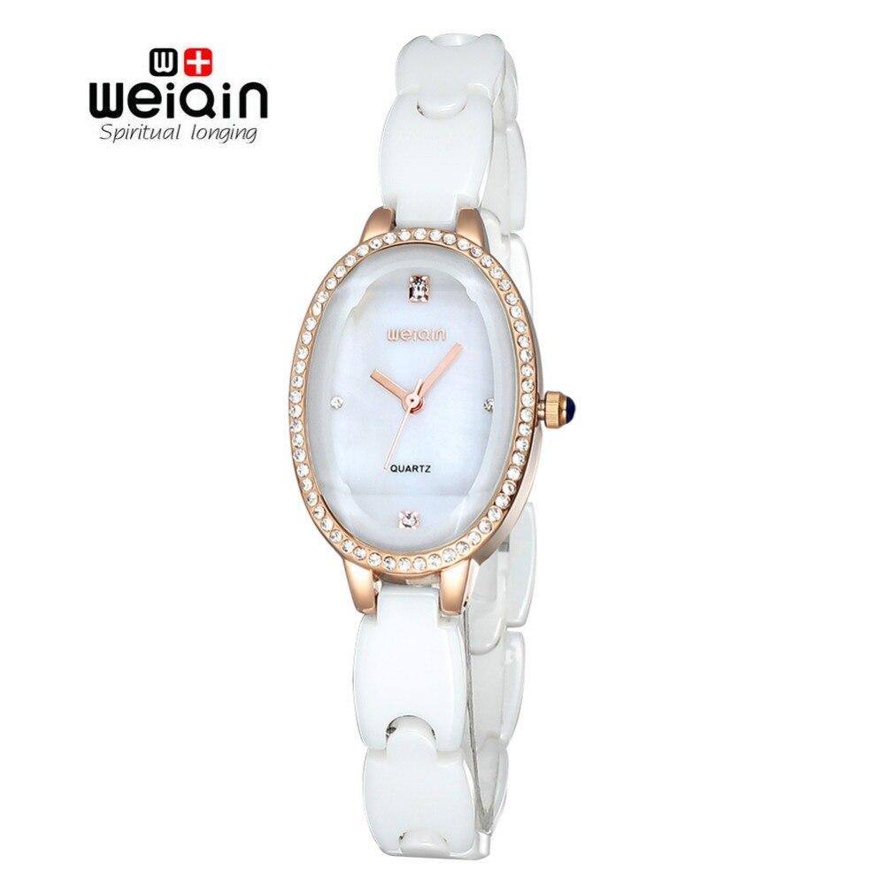 WEIQIN New Fashion Ceramic Band Watch Luxury Brand Women Dress Watches Quartz Wristwatches Atmos Clock  Feminino new quartz watch weiqin band fashion white ceramic rhinestone watches women analog clock ladies watch reloje relogios feminino