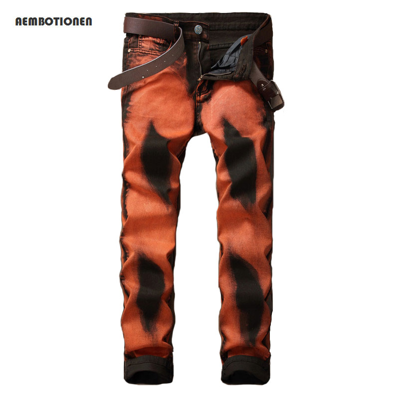 Mens casual Hand-painted print jeans club night barber jeans Fashion slim straight orange stretch denim pants Long trousers