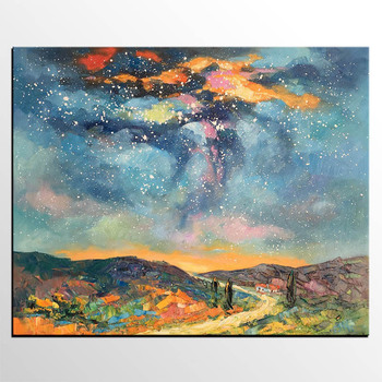 Handmade thick knife high quality Modern Abstract Fine Artwork Canvas Decor Starry-Night-Sky Bedroom Wall Oil Painting artwork