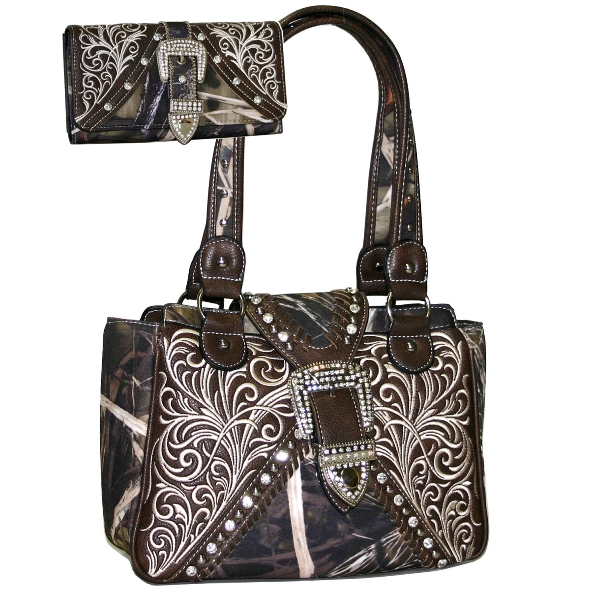 Gold Rush BT922SET-CAMO Western Concealed Embroided Purse with Matching Wallet Brown Trim - Camo