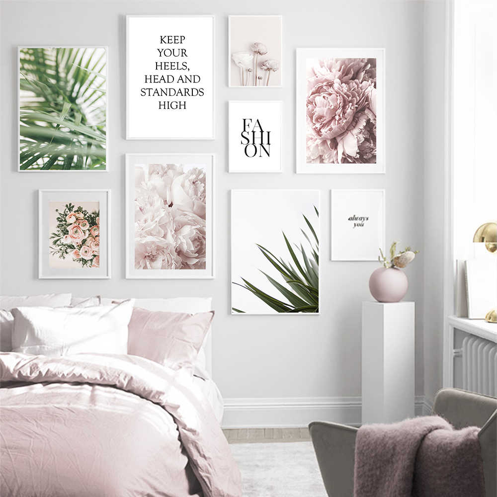 Palm Tree Leaves Wall Art Peony Flower Canvas Painting Posters And Prints Classic Modern Style Wall Pictures For Living Room