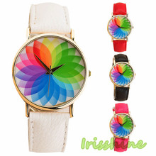 Irisshine i0615 lady New Product Woman Seven Color Lotus Leather Watch Quartz Watch women watches Gift