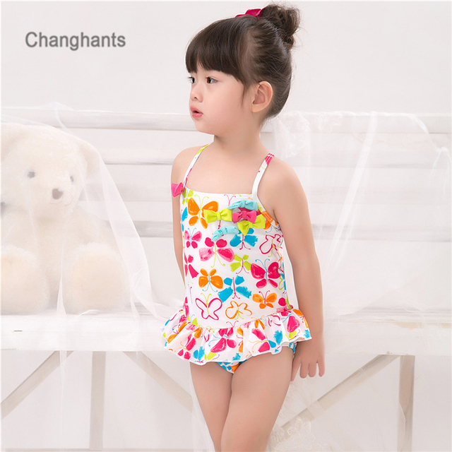c7b4b7c672883 Baby Girls Swimwear with multicolored Butterfly Pattern 2-8 Y Kids One  piece Swimsuit Children Bathing suit Summer wear
