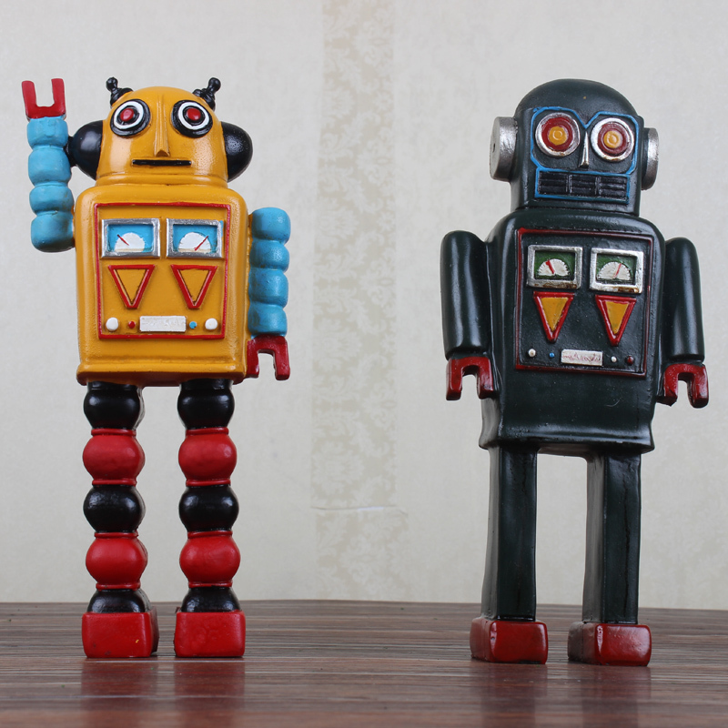 American retro to do the old resin robot model Bar Cafe Restaurant creative ornaments shop decorationsAmerican retro to do the old resin robot model Bar Cafe Restaurant creative ornaments shop decorations