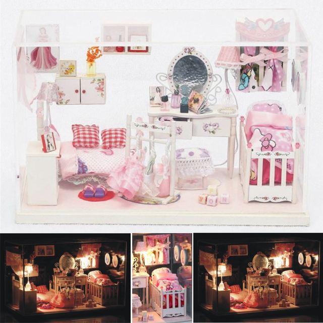 Doll House Princess Room DIY Miniature 3D Wooden Miniaturas Dollhouse Toys for Children Girls Birthday Gifts Dollhouse Toys