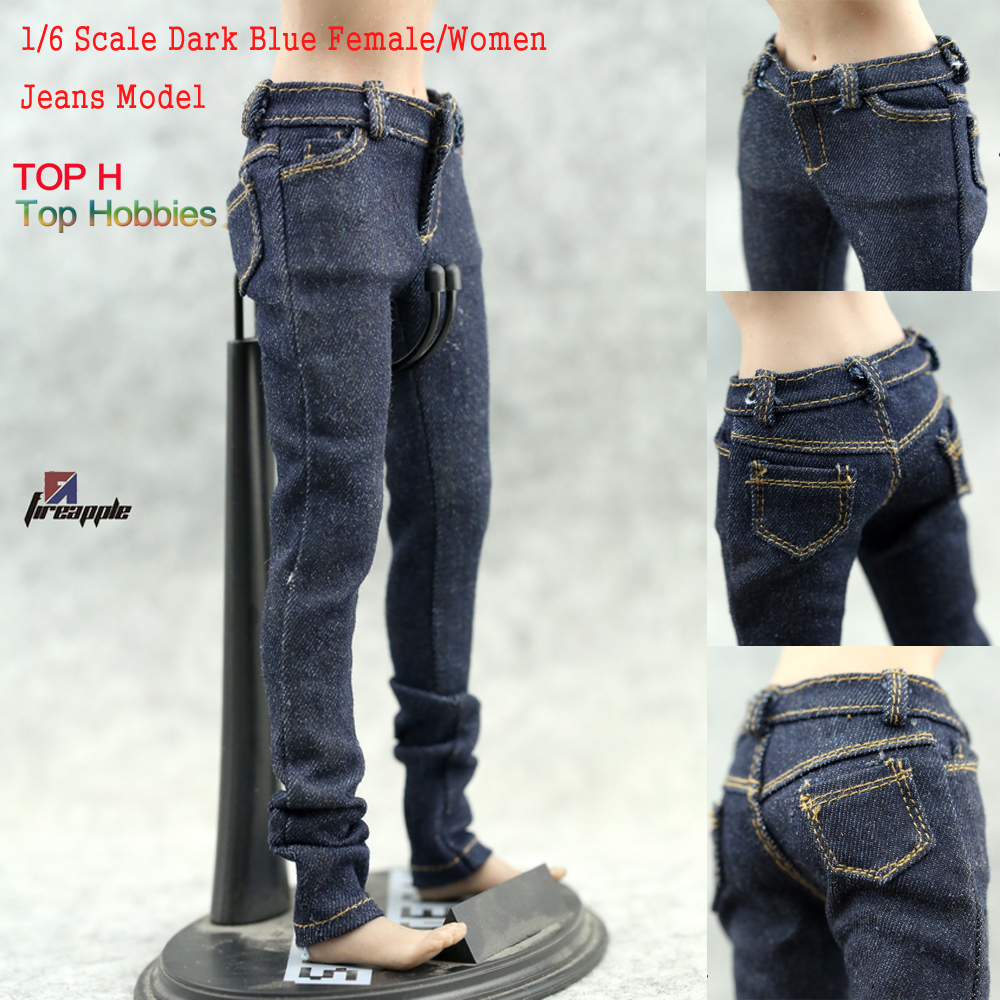 Dark Blue Female/Women Jeans fit well Pants Fit 12 1:6 Action Figure Model 1/6 Scale Toys flower embroidery jeans female light blue casual pants capris pockets straight jeans women bottom 2598