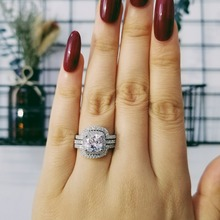 2019 new design Luxury 3 pcs in 1 925 sterling Silver Ring cushion Engagement Wedding set for Women bridal jewelry R4308