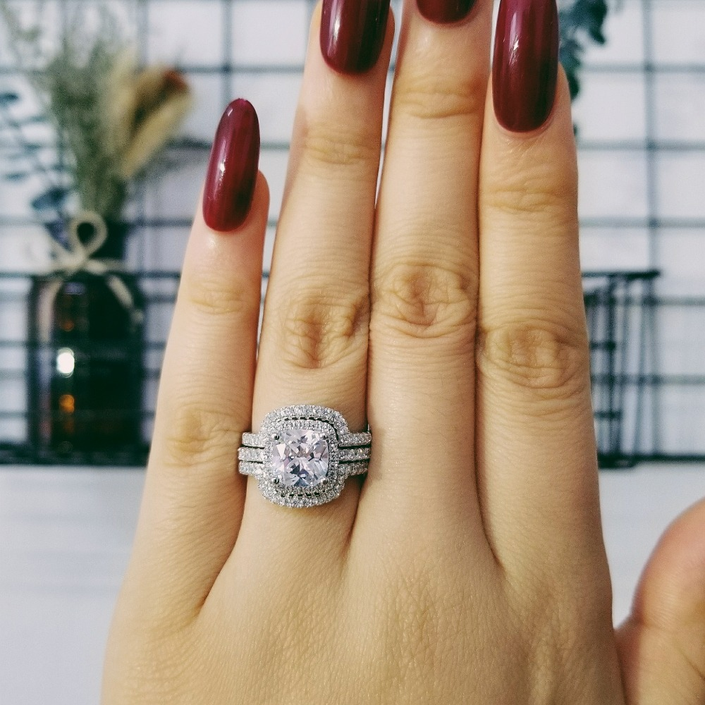2020 New Design Luxury 3 Pcs 3 In 1 925 Sterling Silver Ring Cushion Engagement Wedding Ring Set For Women Bridal Jewelry R4308