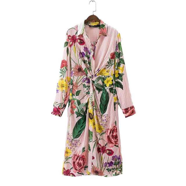 19328928d1cb Pink Floral Dress Women Clothing Summer Casual Dress Knotted Flower Print  Long Sleeve Striped Shirt Dress Vestidos Robe Femme