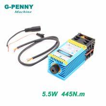 Free shipping! Laser Engraving Machine 5.5N.m Model 5500mw 445nm Blue Light PWM 12vttl pmw Engraving steel cutting wood board.