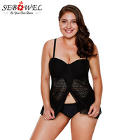 SEBOWEL 2018 Plus Size Lace Tankini Swimsuit Women Bathing Suit Beach Two Pieces Swimwear Crisscross Back