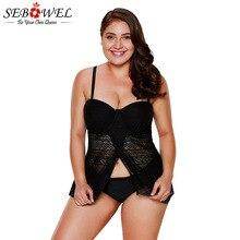 SEBOWEL 2019 Plus size Lace Tankini Swimsuit Women Bathing suit Beach Two Pieces Swimwear Crisscross Back Tankins Swim suits 3XL crisscross open back solid swimsuit