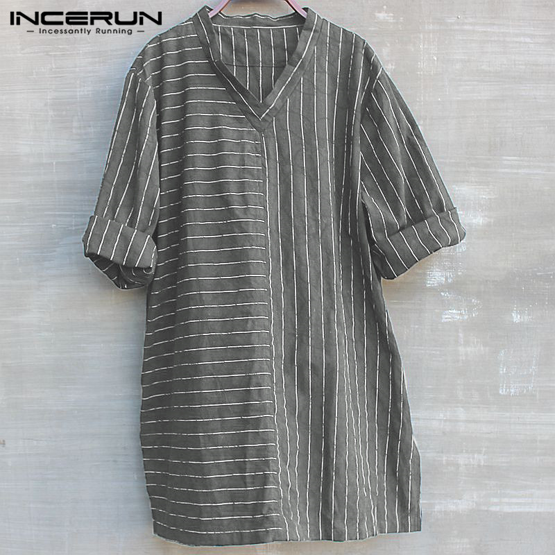 Mens V Neck Three Quarter Striped Linen Shirts Retro Chinese Style Cotton Loose Casual Dress Shirts 2019 Male Clothes Autumn