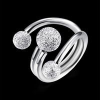 925 Sterling Silver Women S Ring Scrubs Bead Opened Pair Ring Jewelery Pattern With Zirconia Vintage