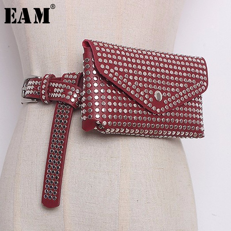 [EAM] 2020 New Summer Spring Women 4 Color Fashion Tide Rivet PU Leather Belt Detachable Mini-bag Practical All-match LA711