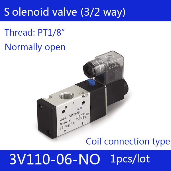 3V110-06-NO solenoid Air Valve 3Port 2 Position 1/8 Solenoid Air Valve Single Coil Led Light NO Normal open Voltage Optional niko 50pcs chrome single coil pickup screws