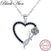 [BLACK AWN] романтическое 925 пробы Серебряное ювелирное ожерелье в форме сердца для женщин черный позвоночник женский подарок для влюбленных роз K008