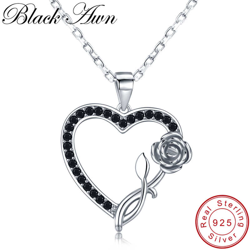 [BLACK AWN] Romantic 925 Sterling Silver Jewelry Necklace for Women Black Spine Female Heart with Rose Lovers Gift K008