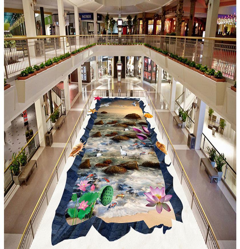 3d pvc wallpaper Waves Boulder Crane Fish 3D Floor 3d floor painting wallpaper floor 3d wallpaper 3d floor painting wallpaper 3d floor painting sky stars swirl pvc wallpaper 3d floor wallpaper 3d for bathrooms
