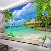 Moderne 3D Mer Photo Papier peint Mer Plage Arbre Papier peint pour Salon Bedroompapier point for murs 3 d Paysage