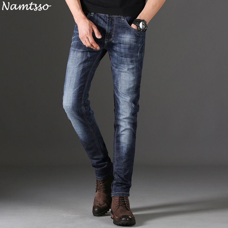 New mens jeans thin section stretch fashion wild self-cultivation personality 2018 summer youth cowboy trousers men