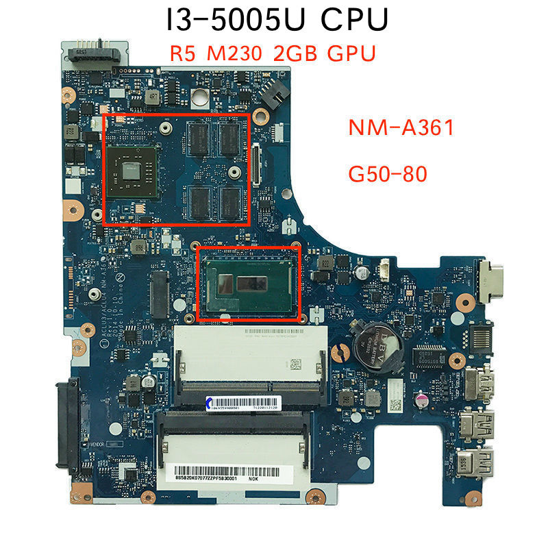 For Lenovo G50-80 Laptop Motherboard ACLU3 ACLU4 <font><b>NM</b></font>-<font><b>A361</b></font> i3-5005u image
