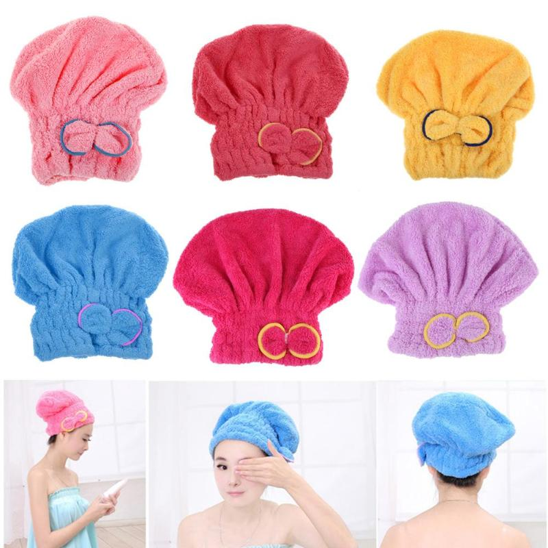 6 Colors Dry Hair Hat Home Textile Microfiber Hair Turban Quickly Dry Hair Hat Wrapped Towel Bath Bathing Drying Towel Head Wrap