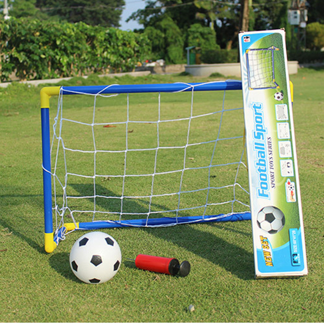 be90009cb 60cm Mini Football Soccer Ball Goal Folding Post Net Set + Pump Kids Sport Indoor  Outdoor Games Toys Kids Birthday New year Gift-in Soccers from Sports ...