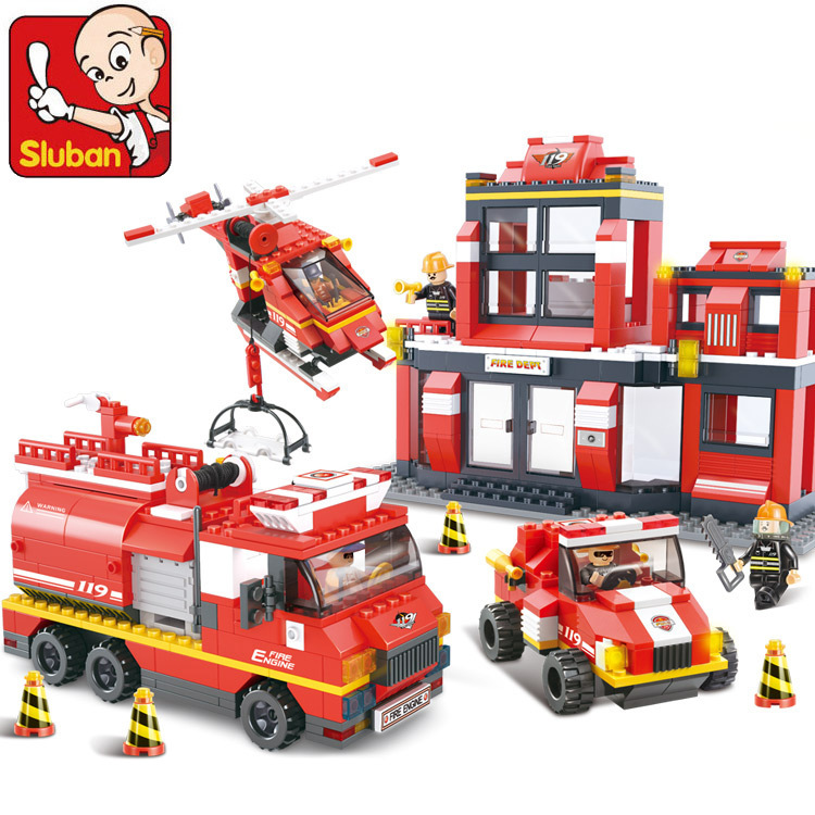 Building Block Sets Compatible with lego city Fire Department emergency 3D Construction Brick Educational Hobbies Toys for Kids