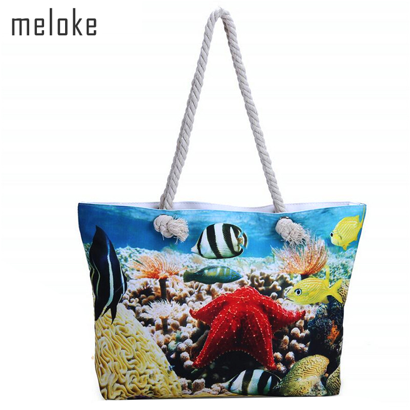 Printed Girl Summer Shoulder Bag Big Tote Ladies Handbag Canvas Beach Bags Large Size Travel Bags MN520