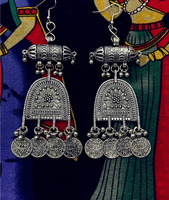 Miao Silver Dongfeng exotic folk style earrings earrings tribal silver jewelry India Thailand Nepal