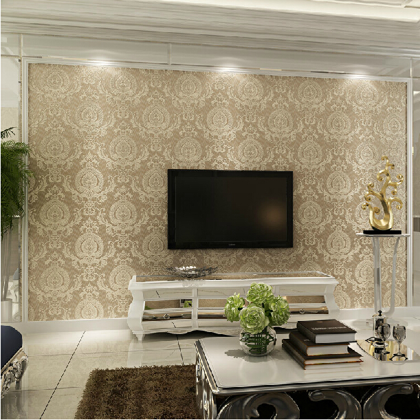 3d flocking Wallcoverings embossed Damask 3d wallpaper rolls for bedding room TV background 3d wall paper roll papel de parede 3d bookshelf wallpaper rolls for study room of american vintage chinese style background 3d wall paper papel de parede