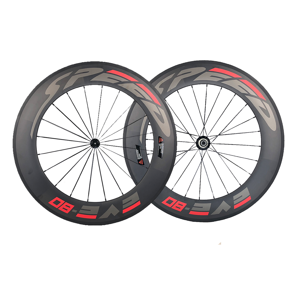 Speedeve 88mm Full Carbon Road Bike Wheel 100% Carbon Fiber Bicycle Wheelset Front& Rear Wheel 23mm Width 700C Customer Design 1set front and rear 700c road bike wheel bicycle magnesium alloy three spokes parts integrated wheel fixed gear single speed
