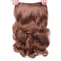 Зажим в синтетических выдвижениях волос Синтетические волосы 4 Зажимы Одна деталь 24 дюймов Русый Натуральный толстый длинные волосы 190 г
