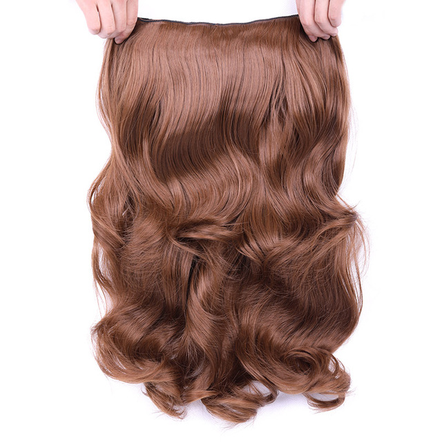Clip in Hair Extensions Synthetic Hair 4 Clips One Piece 24 inch Blonde Natural Thick Long Hair 190g