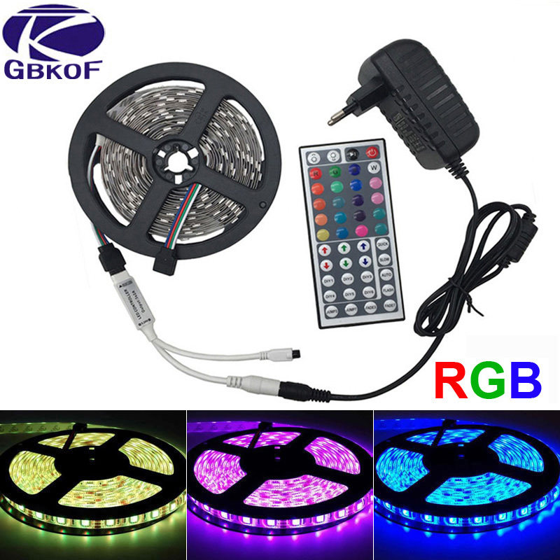5M IP20 non waterproof White/Warm White/RGB Led Strip SMD 5050 DC 12V Flexible Light Ribbon tape with 44key IR remote controller waterproof 72w 7000k 4200 lumen 300 5050 smd led white light flexible strip 5m length dc 12v