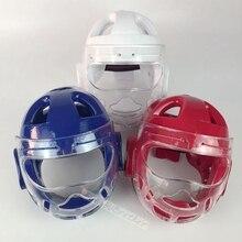 Белый синий красный тхэквондо защитный шлем карате Кикбоксинг Санда Защита головы с маской ITF WTF обучение протектор головной убор