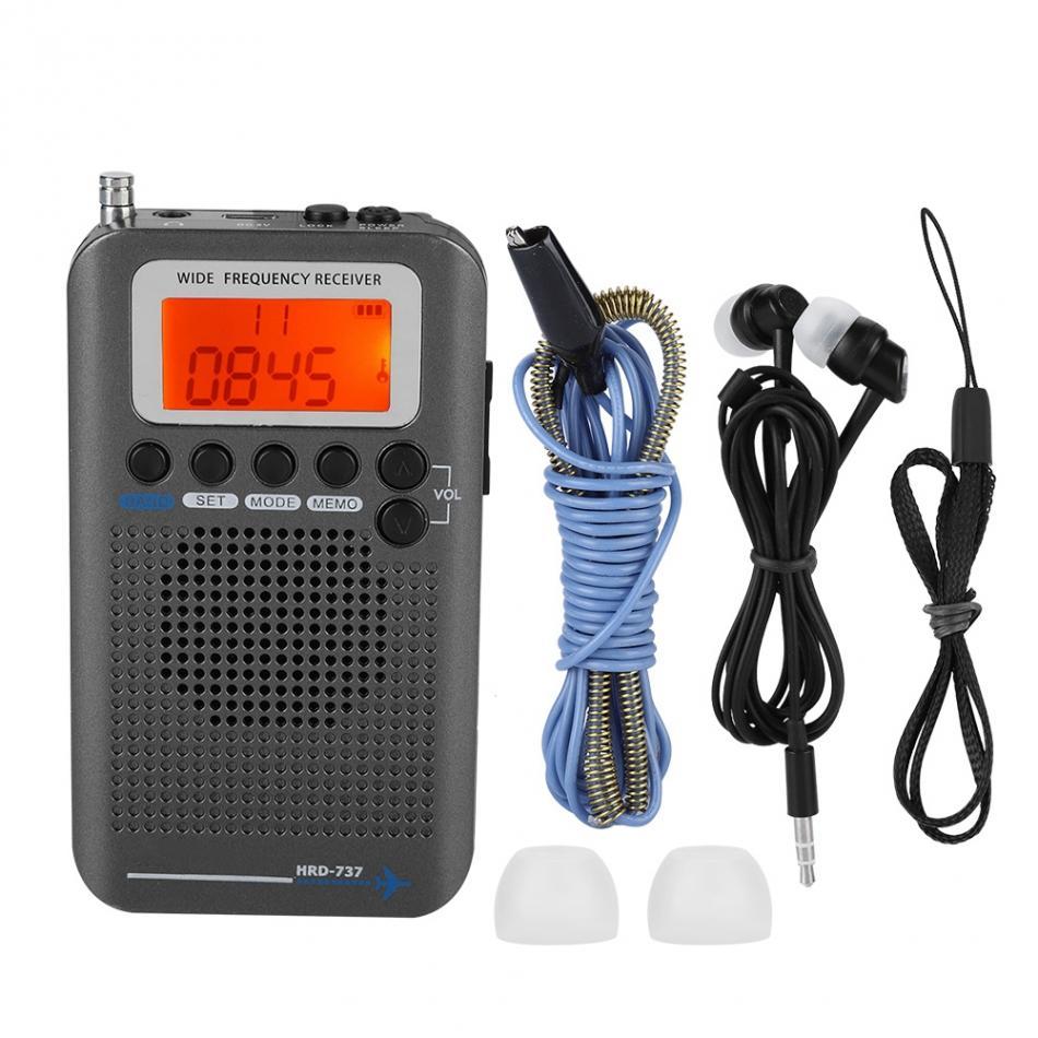 2019 Avions FullBand Radio VHF Portable FM AM SW Radio VHF CB 30-223 MHZ 25-28 MHZ Air 118-138 MHZ avec réveil à deux alarmes