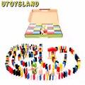UTOYSLAND 480 pcs Domino Domino Crianças Padrão Animal Puzzle Solitaire Jogo Montessori Educativos Brinquedos De Madeira Da Primeira Infância