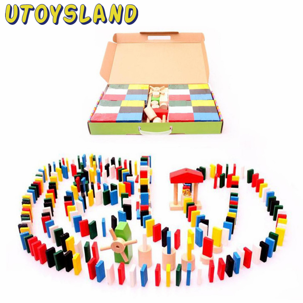 UTOYSLAND 480pcs Animal Solitaire Puzzle Domino Children Standard Domino Wooden Toys Early Childhood Montessori Educational Game children s early childhood educational toys the bear change clothes play toys creative wooden jigsaw puzzle girls toys