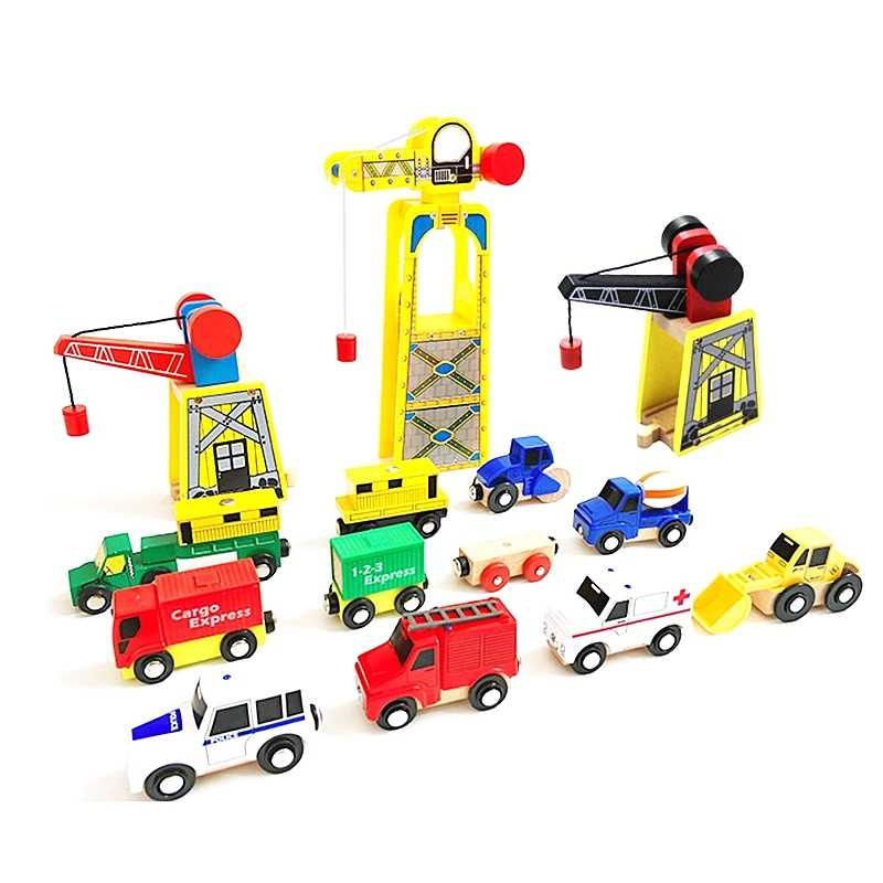 Railway Accessories Wooden Train Track Magnetic Wooden Crane DIY Toys Universal Accessories Competible for Thomasi Track