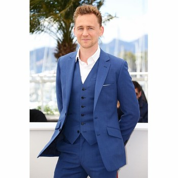 Fashionable Two Button Blue Groom Tuxedos Groomsmen Mens Wedding Suits Prom Bridegroom (Jacket+Pants+Vest) A101