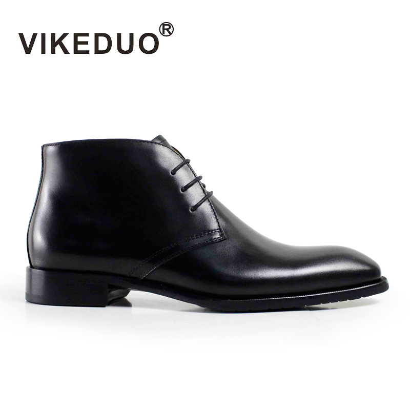2018 Vikeduo Handmade Fashion Luxury Classic Black Party Original Design Dress Genuine Leather Fur Snow Winter Ankle Men Boots vikeduo 2018 classic custom handmade fashion luxury office genuine leather boots designer winter snow crocodile dress men boots