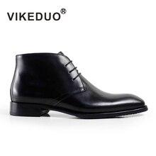 2019 Vikeduo Handmade Fashion Luxury Classic Black Party Original Design Dress Genuine Leather Fur Snow Winter Ankle Men Boots