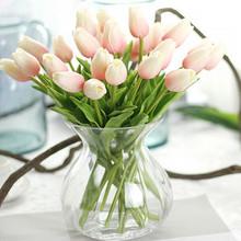 Nienie 1PC PU tulipany sztuczne kwiaty Real Touch artificiales para Decora mini Tulip dla domu ślub dekoracji kwiaty tanie tanio Masz 1 sztuk tulipan dla kochanka lub matka lub przyjaciele Głowa kwiatka Ślub dzień matki Walentynki na imprezę lub ślub dekoracji kwiat