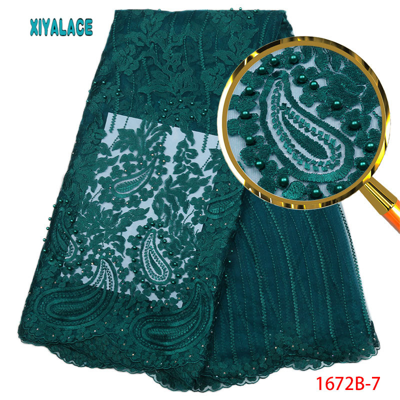 Teal African Lace Fabric High Quality Nigerian French Wedding Lace Fabric embroidery Mesh Fabric For African Lace 5yard PGC1672B-in Lace from Home & Garden    1
