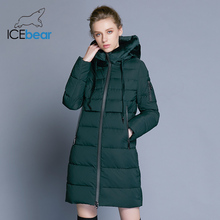 ICEbear 2018 new high quality velvet fabric woman winter coat casual female hooded jacket thick warm