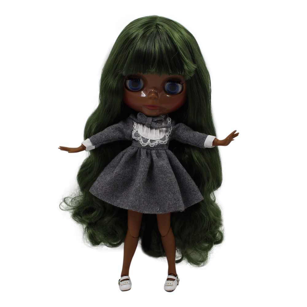 fortune days factory blyth doll super black skin tone darkest skin deep green hair joint body