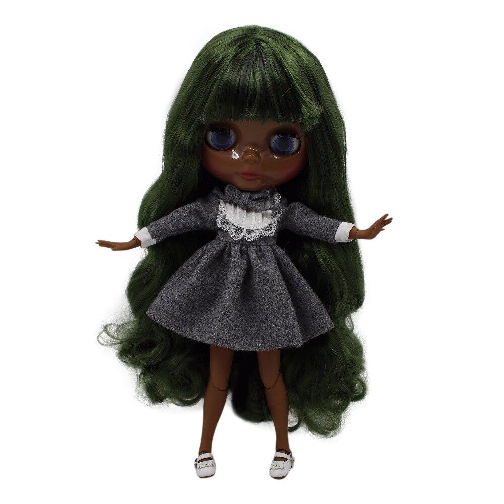 fortune days factory blyth doll super black skin tone darkest skin deep green hair joint body 1/6 30cm 280BL4299 fortune days factory blyth doll super black skin tone darkest skin dark brown hair joint body 1 6 30cm bl0521